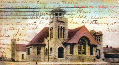 The First Christian Church which was originally the first Baptist Church in Ballinger.
