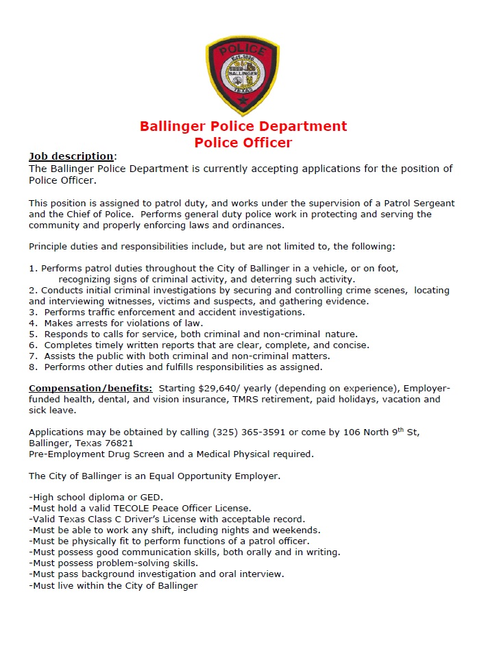 ballinger police department accepting applications for police officer welcome to ballinger