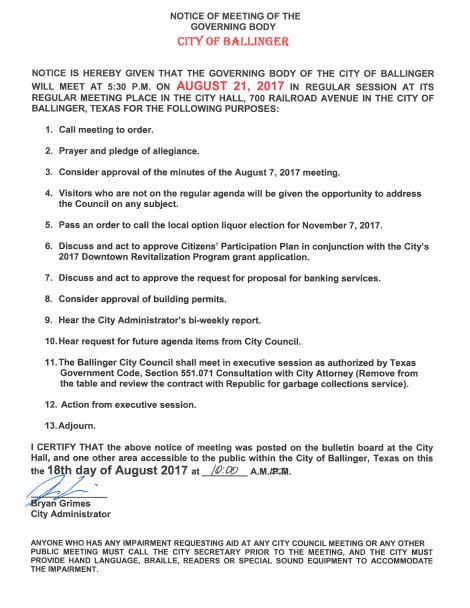 August 21, 2017 City Council Meeting –Agenda