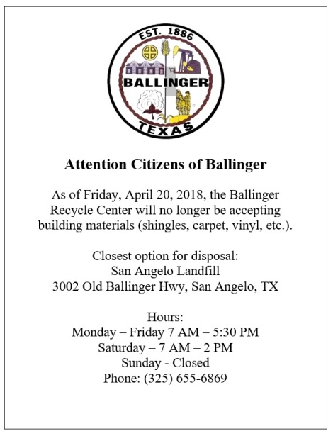 Recycle Center No Longer Accepting Building Materials –4-20-18