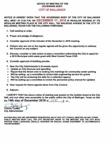 Agenda for December 17, 2018 City CouncilMeeting